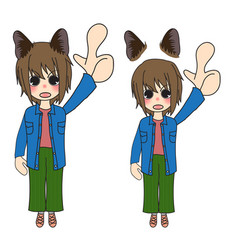short hair girl with cat ears pointing up vector image