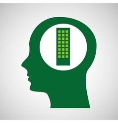Silhouette green head building vector