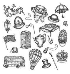 sketch of london symbols objects symbolizing vector image