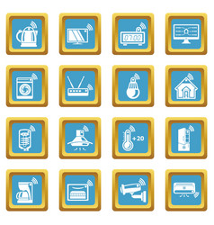 Smart home icons set sapphirine square vector