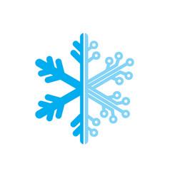 snow flake technology logo vector image