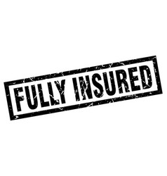 Square grunge black fully insured stamp vector