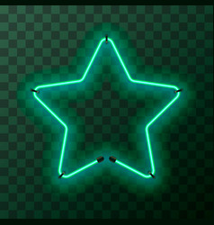 star-shaped bright turquoise neon frame template vector image