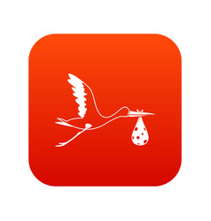 stork carrying icon digital red vector image vector image