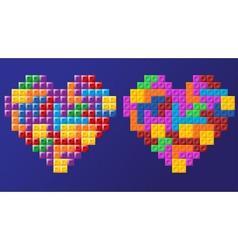 Tetris hearts vector