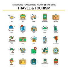 Travel and tourism flat line icon set - business vector