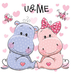 Two cute hippos vector