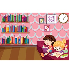 Two girls reading inside the house vector