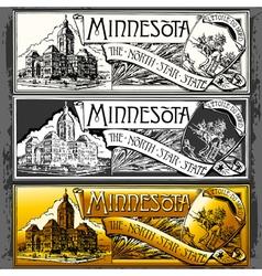 Vintage minnesota label plaque withe black vector