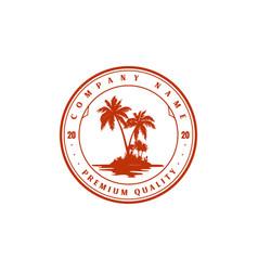 Vintage retro palm coconut tree island logo design vector