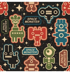 Vintage seamless texture with monsters vector