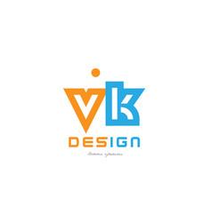 vk v k orange blue alphabet letter logo vector image