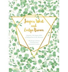 Wedding invitation card with leaves and vector