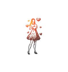 woman heart attractive love concept vector image