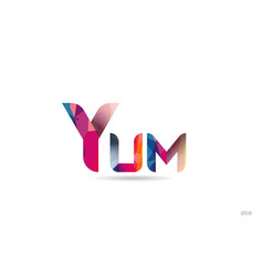 Yum colored rainbow word text suitable for logo vector