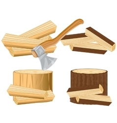 Axe and firewood vector image