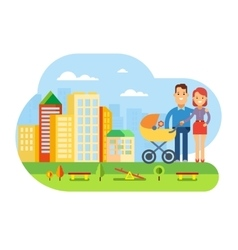 Happy Young Family with Baby on City Landscape vector image vector image