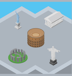 isometric travel set of athens rio england vector image