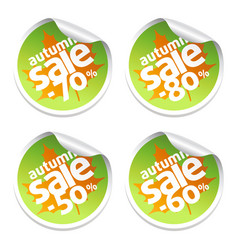 autumn set sale with stickers vector image
