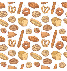 bakery hand drawn seamless pattern with bread vector image vector image