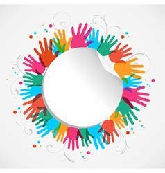 Color hand print circle vector image