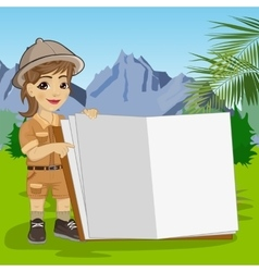 explorer girl in safari outfit showing giant book vector image vector image