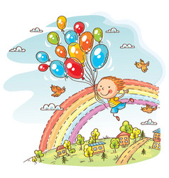 happy child flying with the balloons vector image vector image