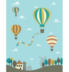 Hot air balloons over the country vector image