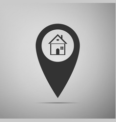 map pointer with house icon home location marker vector image