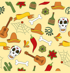 mexico icons seamless pattern - traditional vector image