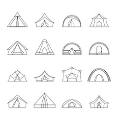 tent forms icons set outline style vector image vector image