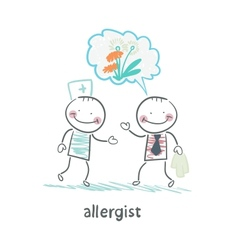 Allergist says to the patients illness vector image