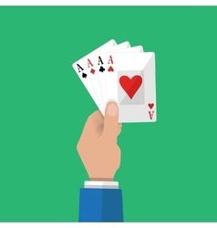 Four aces in hand Gambling entertainment vector image vector image