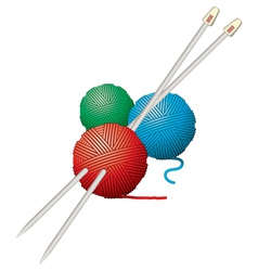 yarn balls and needles vector image