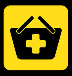 Yellow black sign - shopping basket plus icon vector