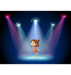 A young dancer at the center of the stage vector image