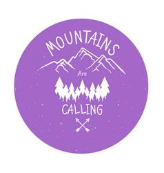 hand drawn mountain adventure label mountain vector image vector image