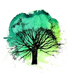 Hand drawn tree silhouette vector image vector image