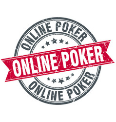 online poker round grunge ribbon stamp vector image vector image
