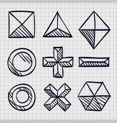 polygonal sketch shapes vector image vector image