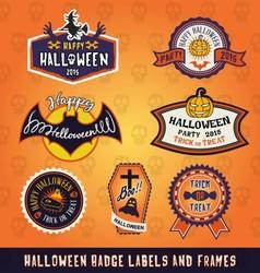 Set of Halloween badge label and frames design vector image vector image
