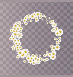 summer flowers cute daisy round frame vector image