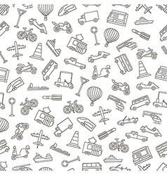 Transport pattern black icons vector image