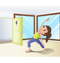 A girl warming up in a room vector