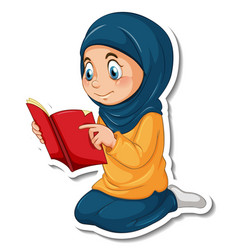 A sticker template with muslim girl reading quran vector