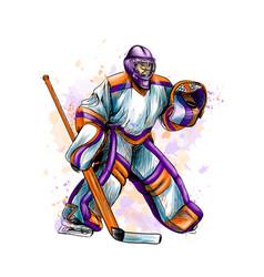 abstract hockey goalkeeper from splash of vector image