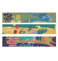 abstract set horizontal banners spring floral art vector image