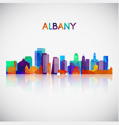 albany skyline silhouette in colorful geometric vector image