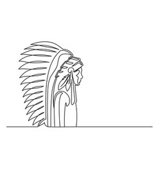 American indian continuous line vector