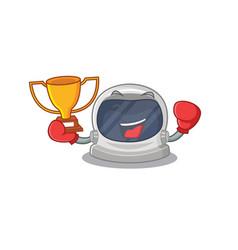An elegant boxing winner astronaut helmet mascot vector
